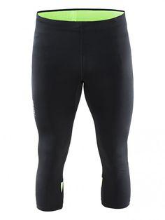 Craft Męskie Spodnie do biegania Prime Knickers Black/Green | MALL.PL