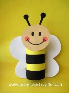 Super cute bee made out of a toilet paper carton.