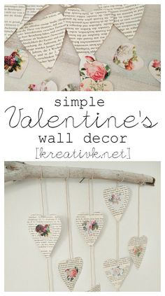 Simple Valentine's Wall decor kreativk.net - Featured on Waste Not Wednesday Link Party #37 - www.smallhomesoul.com