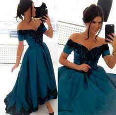 Elegant Off-the-Shoulder Appliques High-Low Prom Dresses 2017