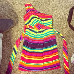 Colorful dress! Super colorful. Great for parties this summer! Worn twice. In great condition, zipper on the side. Maurices Dresses One Shoulder