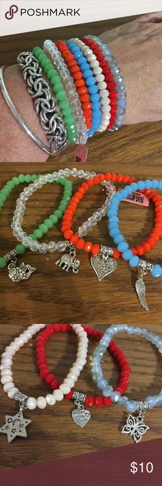 Glass bead charm bracelets 10$ each add your favorite to your stack or bundle a few to start your stack!  The charms are metal alloy with Rhodium plating. Jewelry Bracelets