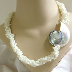 """This is a really fabulous Mother of Pearl Shell Necklace and Earrings Large Vintage Statement Set!  The Necklace in this set measures 22 1/2"""" from end to end with a screw t... #teamlove #ecochic #vogueteam"""