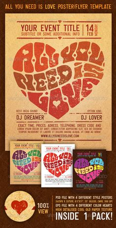 All You Need Is Love Vintage Poster/Flyer Template  #lettering #love #peace • Available here → http://graphicriver.net/item/all-you-need-is-love-vintage-posterflyer-template/154569?s_rank=100&ref=pxcr