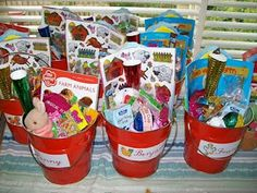 Buckets for farm party favours