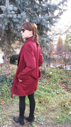 Palton Burgundy Raincoat, Burgundy, Autumn, Jackets, Collection, Fashion, Rain Jacket, Down Jackets, Moda