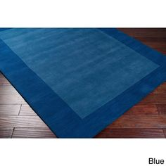 Hand Loomed Bergn Solid Bordered Tone-On-Tone Wool Area Rug (6' x 9') (Blue-(6' x 9')), Blue, Size 6' x 9'