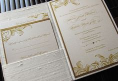Gold black and white wedding invitation | white silk and gold scrolls wedding invitation gold wedding ...