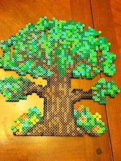 Big tree perler beads by Bradi B. Hama Beads Design, Diy Perler Beads, Perler Bead Art, Pearler Beads, Fuse Beads, Melty Bead Patterns, Hama Beads Patterns, Beading Patterns, Hama Bead Boards