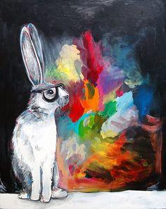 Hipster bunny art