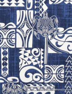 Fabric: Polynesian tribal, petroglyph turtle and swirls on a mesh blue background. By HawaiianFabricNBYond.Etsy.com