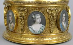 Gilt Casket with oval portraits Medallions, ca. century (interiors upholstered in a coral color watered silk) Miniature Portraits, Miniature Paintings, Glass Dome Display, Vanity Box, Antique Vanity, Diy Wedding Bouquet, Vintage Pocket Watch, Cool Artwork, Amazing Artwork