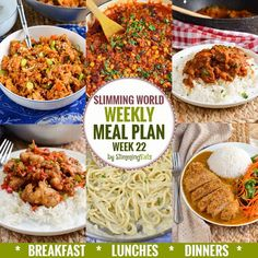 Slimming Eats Weekly Meal Plan - Week 22 - Slimming World recipes - taking the work out of planning so that you can just cook and enjoy the food. Super Healthy Recipes, Healthy Foods To Eat, Diet Recipes, Savoury Recipes, Recipes Dinner, Easy Recipes, Soup Recipes, Clean Eating Diet, Peda