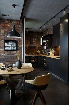 Cette cuisine avec coin repas dans un loft est celle de nos rêves - PLANETE DECO a homes world Small Space Kitchen, Kitchen Room Design, Home Room Design, Modern Kitchen Design, Home Decor Kitchen, Interior Design Kitchen, House Design, Small Spaces, Kitchen Ideas