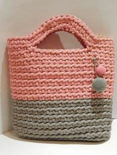 Items similar to Crocheted rope bag / market bag / crochet rope bag / pink and grey bag / little lady accessory bag / girl bag / knitted bag/crochet hand bag on Etsy Beatiful present for young lady :) Colour rope crochet handbag. Free Crochet Bag, Crochet Market Bag, Crochet Tote, Crochet Handbags, Crochet Purses, Crochet Girls, Crochet Baby, Girls Bags, Knitted Bags