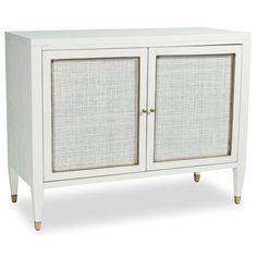 Jaden Modern Classic White Rattan Brass 2 Door Bar Cabinet Buffet | Kathy Kuo Home