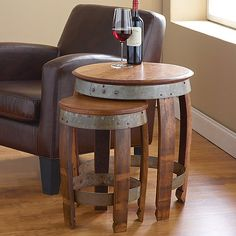 Barrel Head Nesting Tables at Wine Enthusiast - $399.00