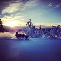 Snowmobiling.