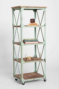 Factory Rolling Bookcase - Urban Outfitters. I like this guy - would be a neat touch in my living room.