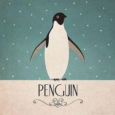 Penguin Print Original Design Animal Alphabet by RedGateArts, Penguin Images, Penguin Art, Penguin Love, Cute Penguins, Penguin Parade, Art Deco Posters, Vintage Posters, Design Alphabet, Penguin Tattoo