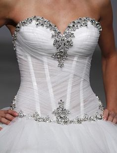 Ruched sweetheart with encrusted jewels and staids