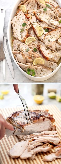 Roasted Turkey Breast with Lemon and Oregano | foodiecrush.com
