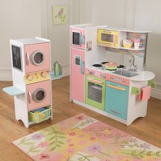 KidKraft Uptown Pastel Play Kitchen and Laundry Playset - KD1271
