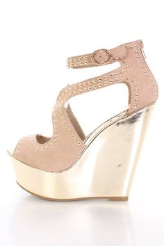 Oatmeal Faux Suede Studded Cut Out Metallic Wedges @ Amiclubwear Wedges Shoes Store:Wedge Shoes,Wedge Boots,Wedge Heels,Wedge Sandals,Dress Shoes,Summer Shoes,Spring Shoes,Prom Shoes,Women's Wedge Shoes,Wedge Platforms Shoes,floral wedges,Fashion Wedge Sh