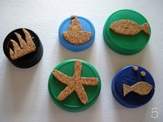 DIY cork stamps! Mix with water colors and create your own seascape!