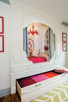 How Swede It Is Alcove Bed, Bed Nook, Bedroom Nook, Girls Bedroom, Bunk Beds Built In, Kids Bunk Beds, Home Interior, Interior Design, Bunk Rooms
