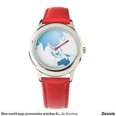 Blue world map accessories watches for kids