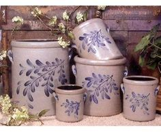 Rowe Pottery stoneware crocks