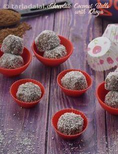 Chocolate Coconut Balls with Khoya recipe | by Tarla Dalal | Tarladalal.com | #41461
