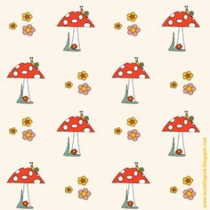 FREE #printable mushroom and snail #pattern #paper