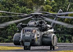 Looking like some monstrous insect, the mighty MH-53E Sea Dragon arrives at Peachtree City, Georgia