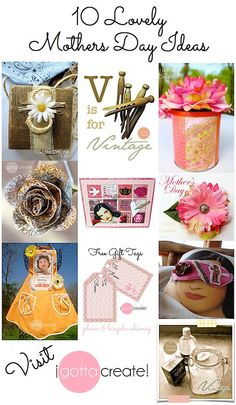 10 lovely Mothers Day ideas ranging from handcrafted gifts, to cards and packaging, to household tips and printables | #mothersday projects from I Gotta Create!