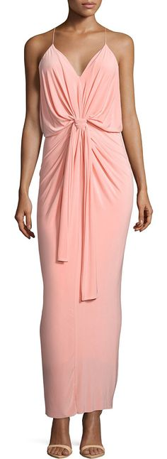 """On SALE at 66% OFF! Sleeveless tie-front maxi dress by T Bags. T Bags jersey maxi dress. Approx. length: 50""""L down center front, 56""""L down center back. V neckline; racerback. Sleev..."""