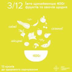 Смакуйте овочами і фруктами, їжте м'ясо птиці і не захоплюйтесь надто цукором та сіллю.