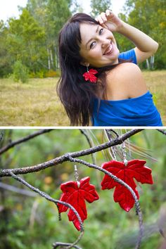 earrings red maple leaf autumn botanical earrings red by O1impia