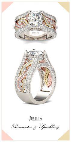 Jeulia Twist Three Tone Round Cut Created White Sapphire Engagement Ring #Jeulia