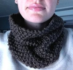Organic Cotton Neck Warmer, In Chocolate, Knit Scarf for Men or Women perfect for fall   :)