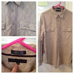 Size Xl Xlarge TOMMY HILFIGER Tan White Button Down Shirt Mens Long Sleeve $2.99 ebay auction