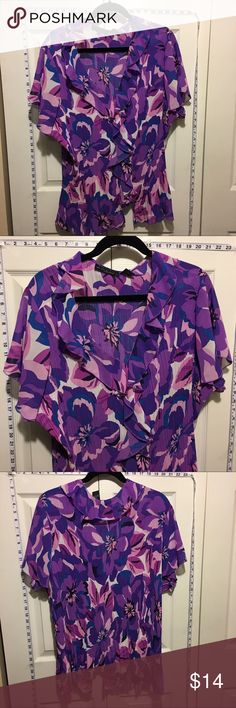 30% Off Bundles Bright Purple & Pink Ruffle Blouse Great condition. No marks or stains. Add three more items to your bundle for 30% off. Tops Blouses