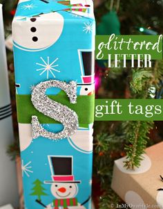 Simple-to-make--fast-and-easy-DIY-glitter letter-and-number-holiday gift-tags. | In My Own Style