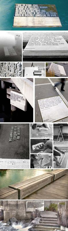 Wellington Writers Walk is a typography filled waterfront park in New Zealand, Catherine Griffiths and Fiona Christeller Wellington New Zealand, Typeface Font, Public Realm, Environmental Design, Installation Art, Typography Design, Writers, Signage, Cool Designs