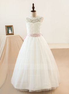 [US$ 53.99] A-Line/Princess Floor-length Flower Girl Dress - Tulle/Lace Sleeveless Scoop Neck With Sash/Beading/Bow(s) (Petticoat NOT included)