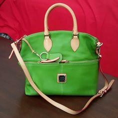 "Dooney Bourke Green Satchel 10"" height 13 "" wide, green appears slightly brighter in picture Dooney & Bourke Bags Satchels"
