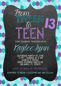 Purple And Teal Sequined Tween To Teen Birthday Invitation