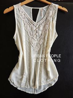 Andree Modcloth Top Free Crochet Lace Trim Vintage Blouse Urban People Clothing