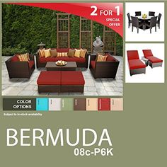 Bermuda 18 Piece Outdoor Wicker Patio Furniture Package BERMUDA08cP6K * Continue reading at the image link.